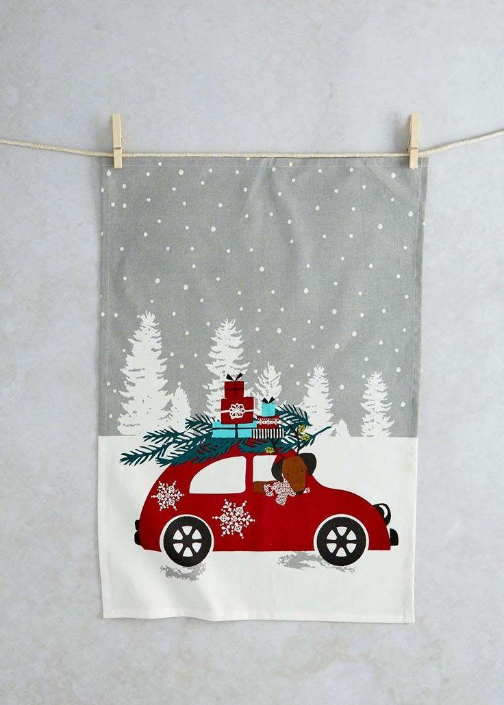Printed Christmas Tea Towel (65cm x 45cm) View 1