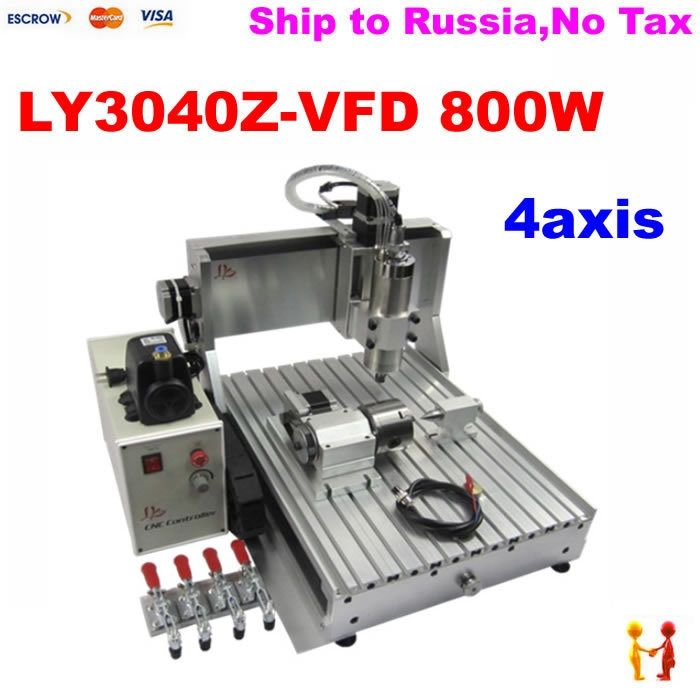 1420.00$  Buy now - http://aligjm.worldwells.pw/go.php?t=32359442675 - Russia no tax free shipping! mini cnc cutting machine 4 axis CNC 3040 Z-VFD 800W  assembled & tested well cnc router for sale