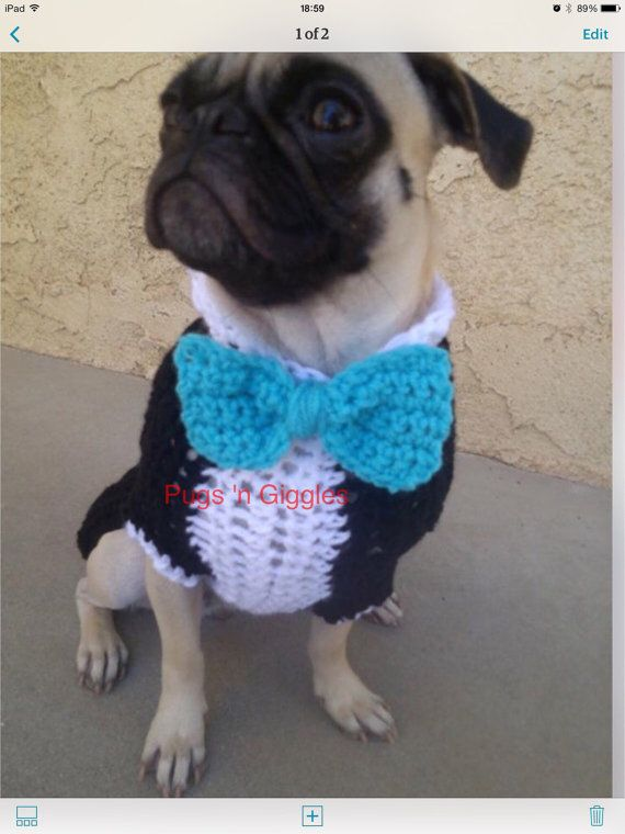 Tuxedo & Bow-tie.(Top Hat not included) you can choose any color you like for all the items,or get it as pictured,Pink Tuxedo is available for the ladies!This set is sized for the average pug.I can size smaller or larger,Larger sizes will vary in price,depending on measurements