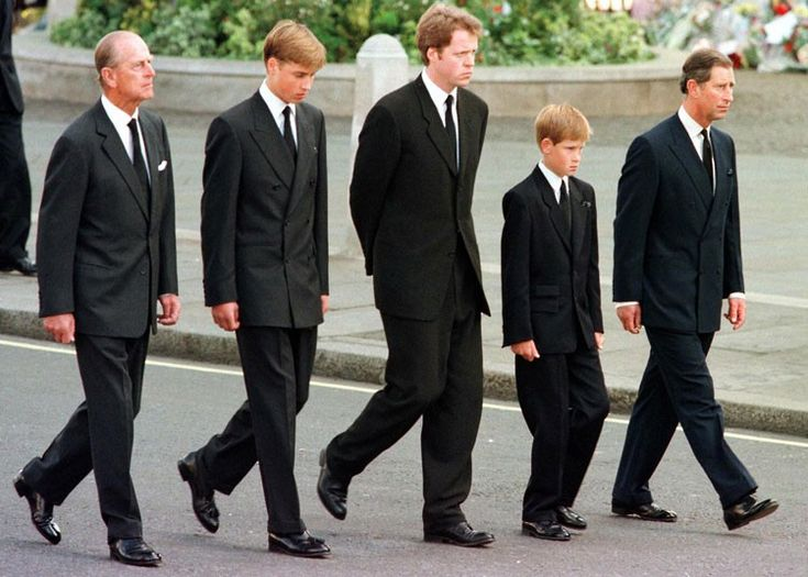 6 September 1997: The Duke of Edinburgh, Prince William, Earl Spencer, Prince Harry and Prince Charles walk outside Westminster Abbey during the funeral for Diana, Princess of Wales