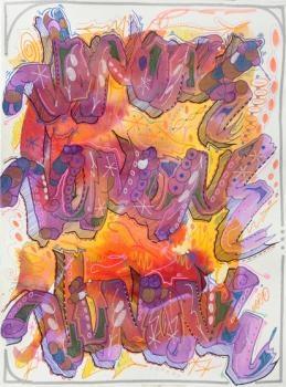 """JonOne """"sans titre"""" encre et gouache sur papier 30 x 40 cm 2012"""