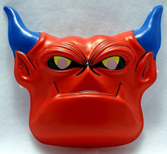Vintage Mighty Max Warmonger Halloween devil demon costume mask