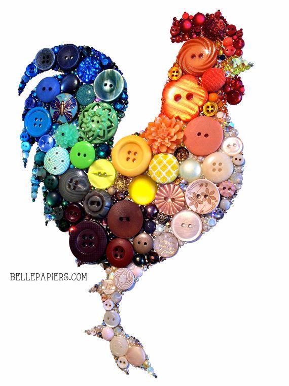 Button Art Rooster 11x14 Kitchen Art Buttons and por BellePapiers