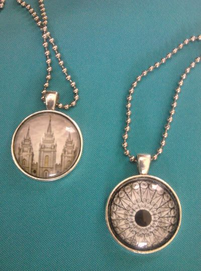 "Temple pendant necklaces to go with the 2013 mutual theme, ""Stand Ye In Holy Places"". You can make these for about a dollar per necklace."