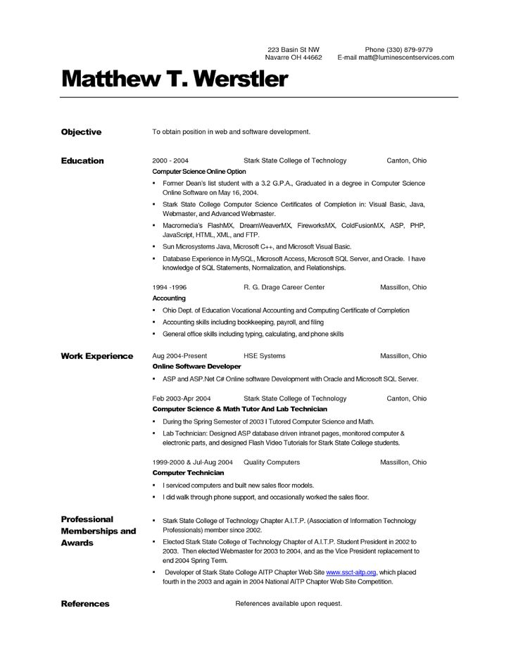 40 best Resume Templates images on Pinterest Curriculum, Resume - computer science resume sample