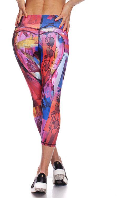 Nina B Roze - Heart Butt Yoga Capri - Abstract Paint