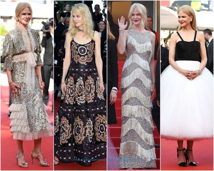 De la segunda semana del Festival de Cannes: Nicole Kidman (premio especial del Festival). Con un original vestido de lentejuelas y chiffon de Rodarte otoño 2017; con un vestido con bordados de Armani Prive primavera 2017; con un vestido con flecos de Michael Kors pre-fall 2017; con un espectacular vestido de falda de tul de Calvin Klein.