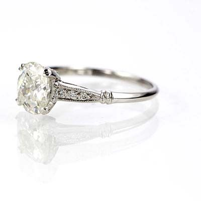 New York, NY Jewelry, engagement rings - Leigh Jay Nacht - Replica Art Deco Engagement Ring - 3082-11
