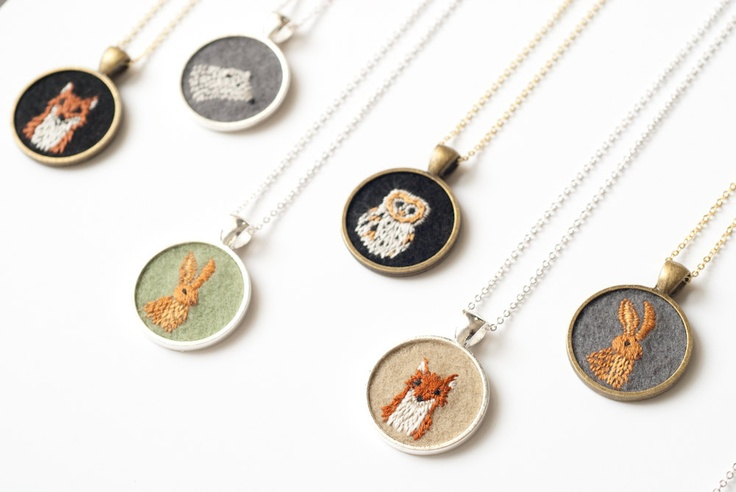 necklaces, embroidered felt ~ knitknit #jewelry #necklace #embroidery