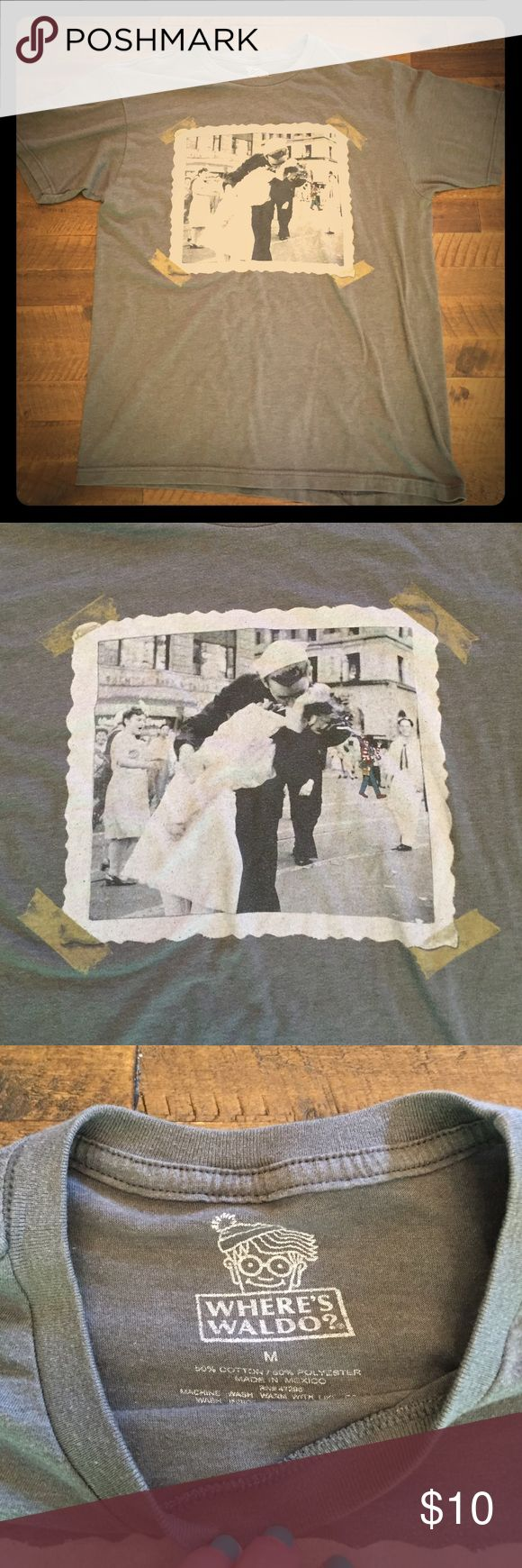 Men's t-shirt - sailor kissing wife! Unique men's tshirt. Sailor kissing wife/girlfriend in what is designed to be an old picture. One of the most unique shirts I have ever seen! In great condition. Where's Waldo Shirts Tees - Short Sleeve