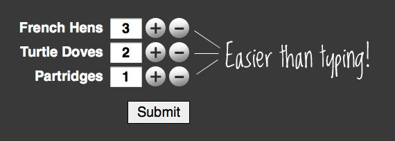 Add (+/-) Button Number Incrementers | CSS-Tricks: Input Fields, Web Dev Design, Minus Interactive, Dev Design Resources, Elements Resources, Awesome Codes, Numbers Increment, Css Stuff, Buttons Numbers