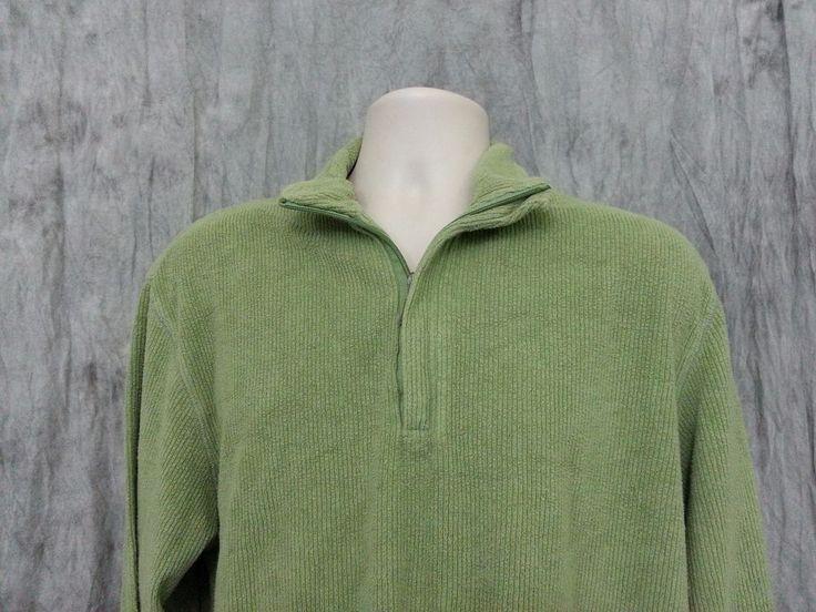 IZOD Men's Half Zip Sweater size M Green Cotton Blend #IZOD #12Zip