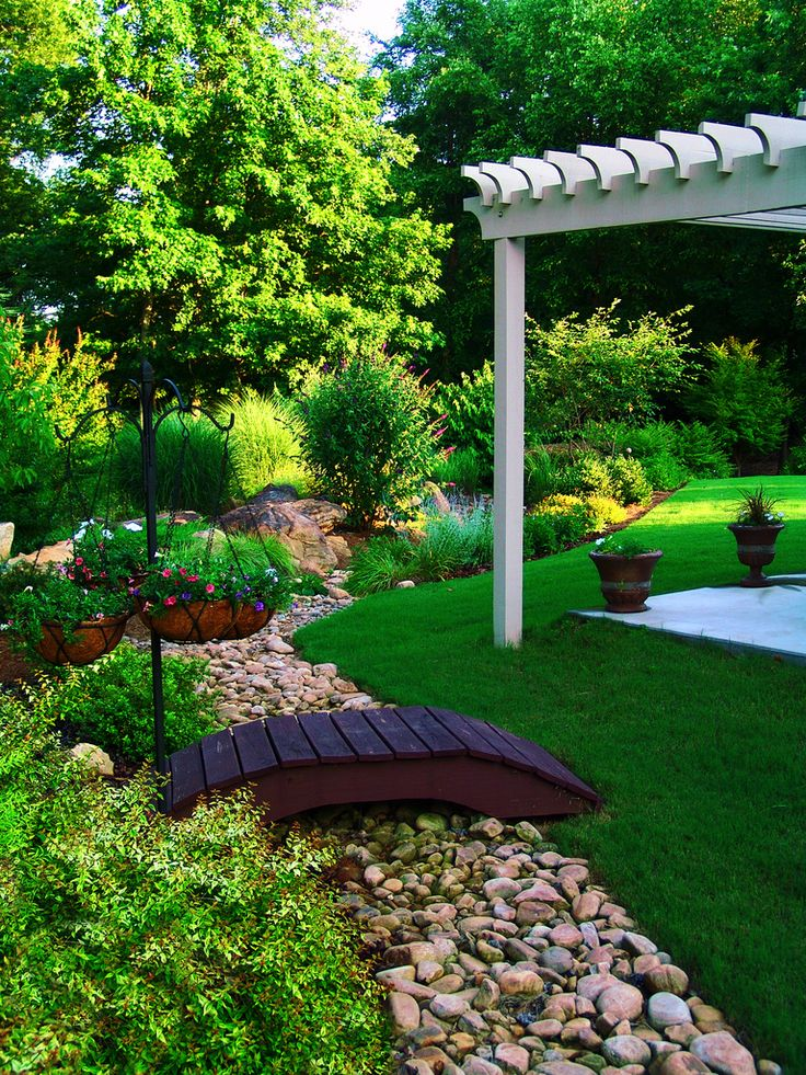 Garden with dry bed and small bridge Flickr Design