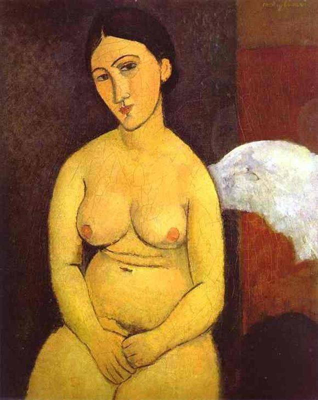 Seated nude, 1917, Amedeo Modigliani, oil on canvas, 81 x 65 cm, Private Collection