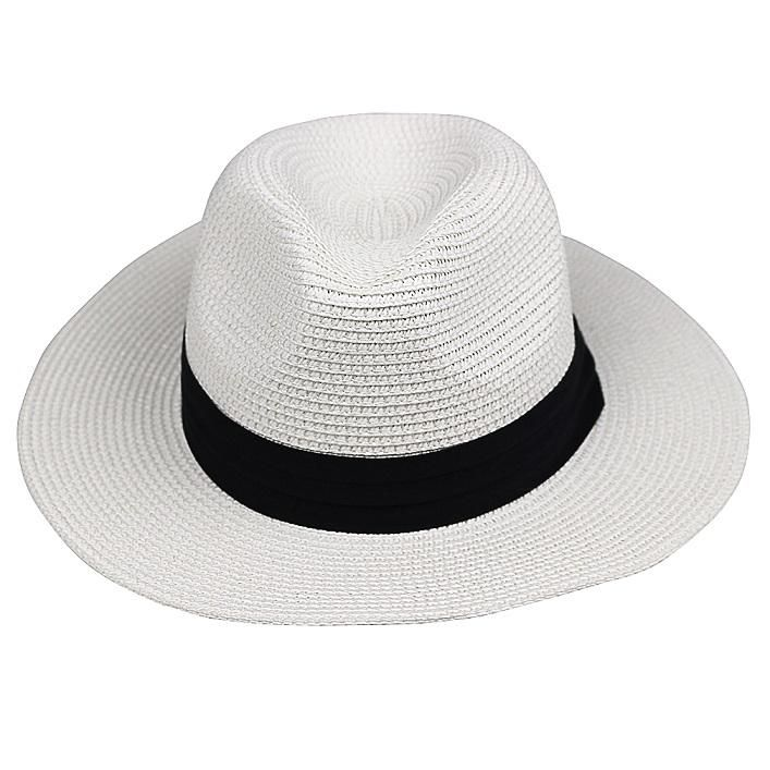 LNPBD Summer fashion white flat brim wide brim women's strawhat women's jazz fedoras hat sun-shading hat beach cap summer