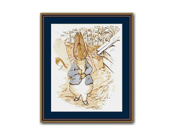 "The Tale Of Peter Rabbit #8 Cross Stitch Pattern / Chart, Beatrix Potter, ""Feeling Rather Sick"", Instant Digital Download (TPR008)"