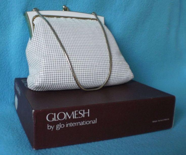 VINTAGE GLOMESH WHITE and GOLD EVENING BAG 60s MESH HANDBAG RARE ORIGINAL BOX   £17.00 (10B)