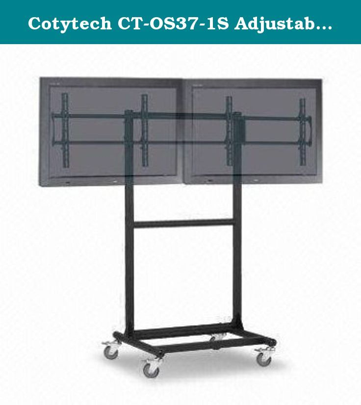 Cotytech CT-OS37-1S Adjustable Ergonomic Mobile Dual TV Cart for 32-Inch to 46-Inch TVs with 1 Shelf. Cotytech Adjustable Ergonomic Mobile Dual TV Cart for 32-Inch to 46-Inch is a perfect solution to all your digital display and presentation needs. The rolling TV cart is Ideal for safely and securely moving two flat panel displays up to 46-Inch, with universal or VESA mounting pattern up to 600 x 400. The moveable TV stand has 69.29-Inch (176cm) maximum height and it's fully mobile with 4...