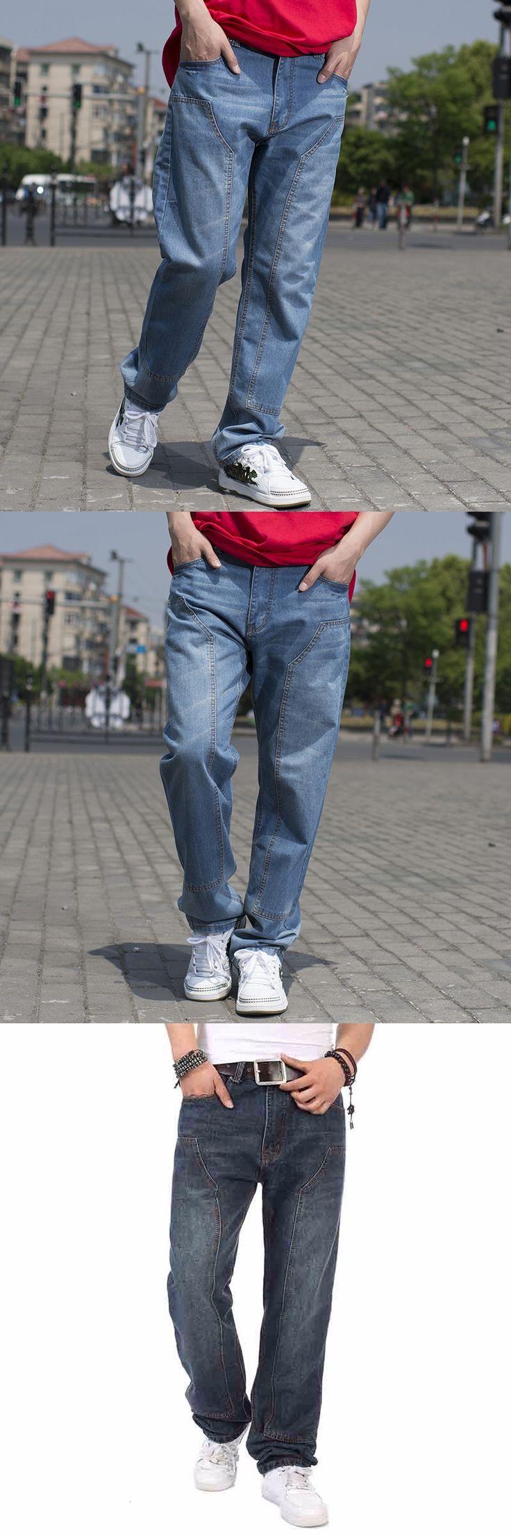 Loose fit Men's Baggy Hip Hop Jeans 2017 Plus Size 30-46 Multi Pockets Skateboard Cargo Jeans For Men Tactical Denim Joggers