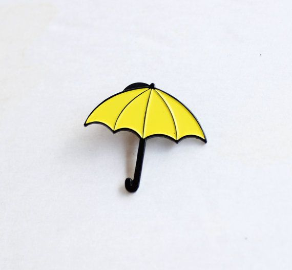 Yellow Umbrella Lapel Pin 1.25 soft enamel by TheSilverSpider