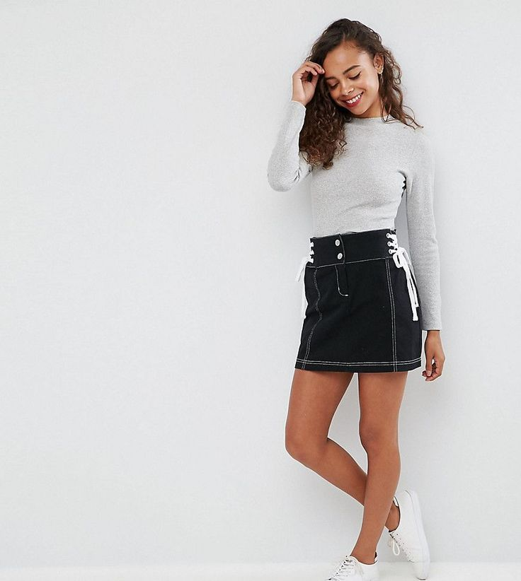ASOS PETITE Mini Skirt with Lace Up Sides - Black