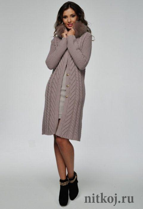 Вязаное пальто с мехом лисы