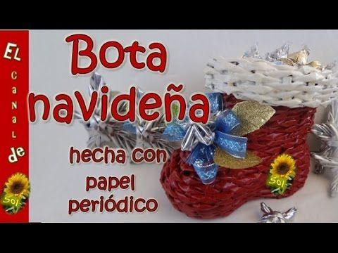 Bota navideña con papel periódico petición - Christmas stocking with newspaper request - YouTube