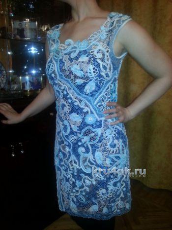 Платье в технике ирландское кружево. Работа Людмилы Максютовой. Вязание крючком.