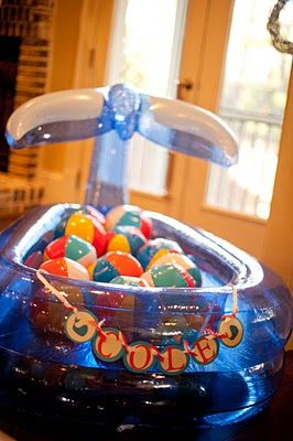 Damn..I thought I was so clever to do a whale pool with ball pit... oh well, my whale pool is cuter ; ) and I'm filling it with blue ball pit balls instead of beach balls
