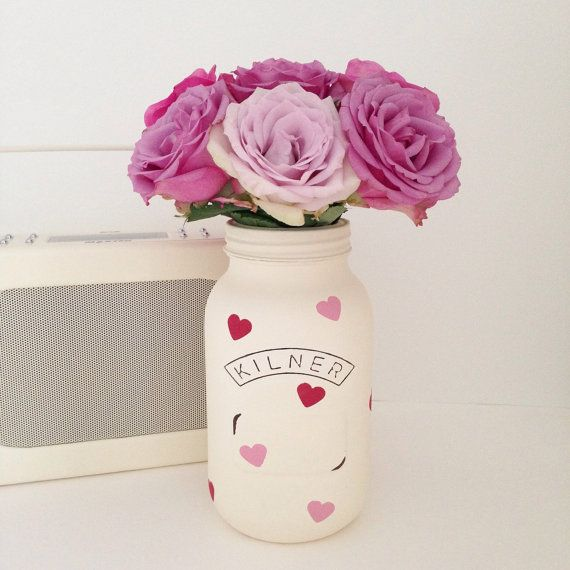 Hand painted large Kilner jar finished with spots von TillySage