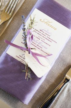 Cloth Napkins Tied With Lavender Around Menu And Napkin Ribbon Photos