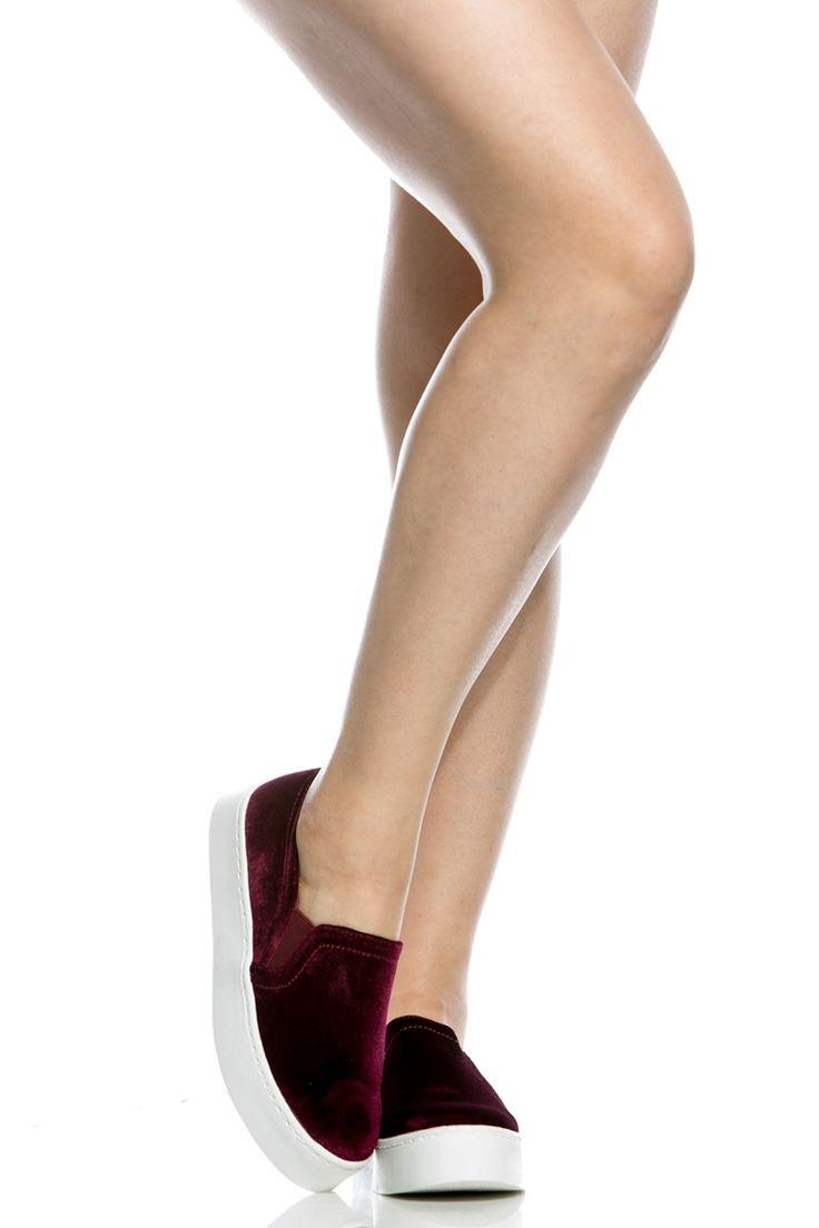 Wine Velvet Flatform Slip On Sneakers @ Cicihot Women Sneakers-Fashion Sneakers,Casual Sneakers,Wedge Sneakers,Platform Sneakers,Hidden Wedge Sneakers,High Top Sneakers,Lace Up Sneakers,Studded Sneakers,Buckle Sneakers