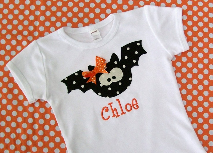 Personalized Halloween  Bat Shirt  for girls and boys... long or short sleeve. $19.00, via Etsy.