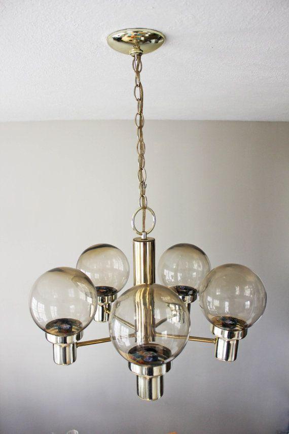 Mid Century Atomic Brass Glass Globe Chandelier Ceiling Pendant Light