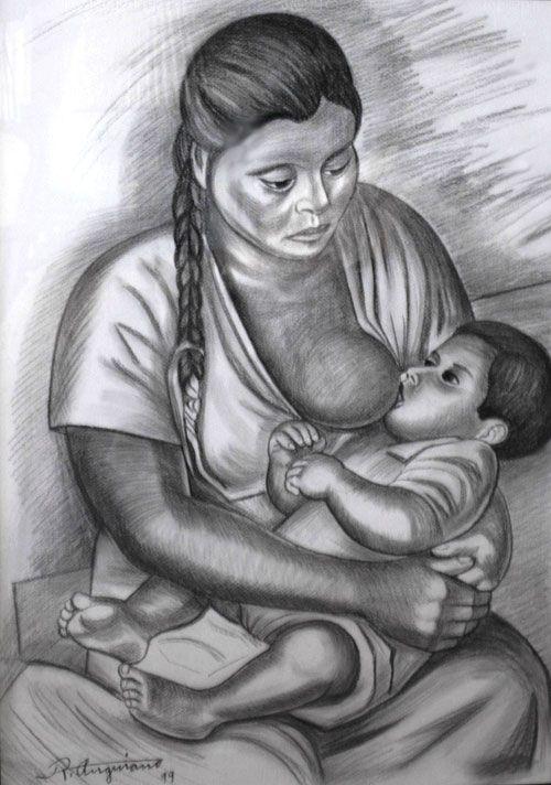 Maternidad by Raúl Anguiano (Mexican 1915 - 1999)