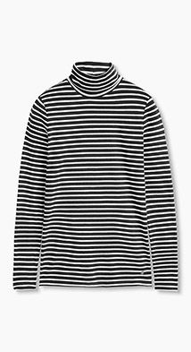 Esprit / Gestreepte, jersey coltrui, katoen-stretch