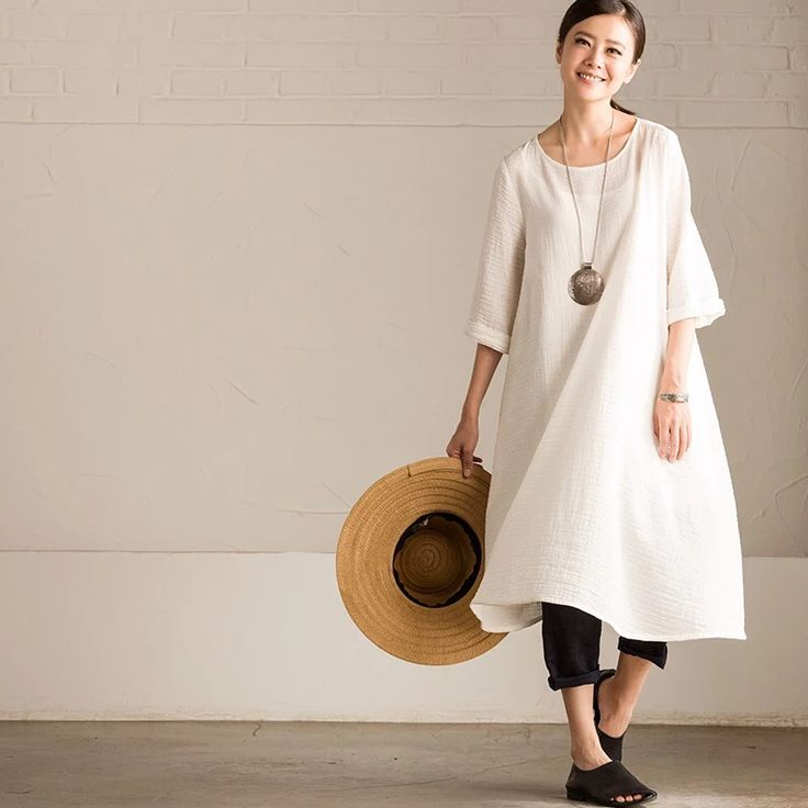 White loose long dress causal dress