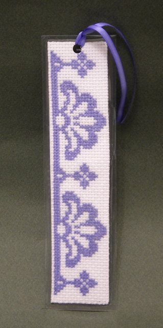 Cross Stitch Pattern, Purple Motif Bookmark, by Ogusstudio on Etsy