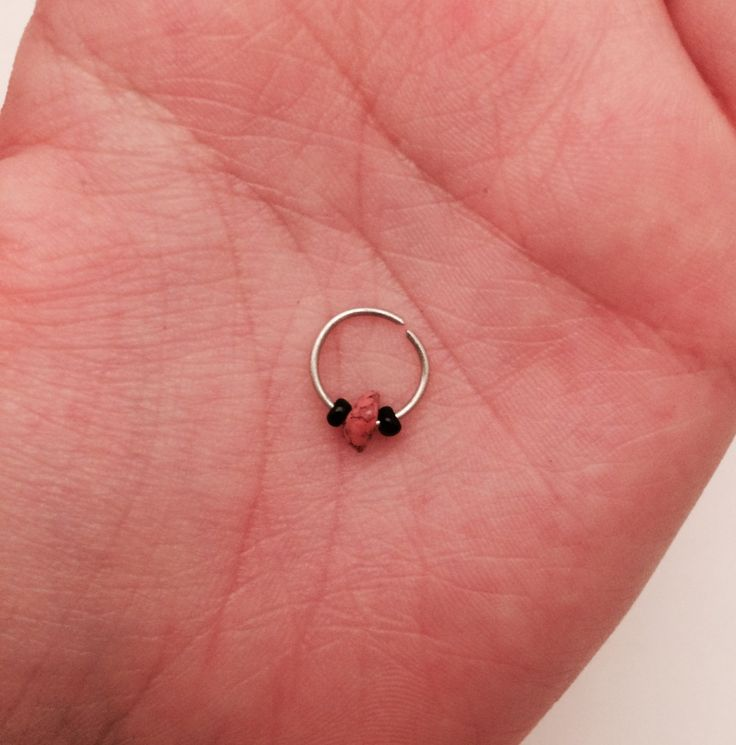 Orange Spotted Silver Septum Ring by IdiosyncraticCraft on Etsy