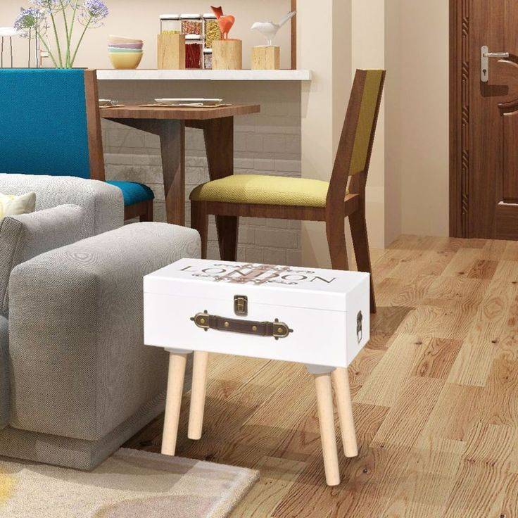 Home Bedside Cabinet Table Bedroom Nightstand Furniture Wood White Trunk Style #HomeBedsideCabinet