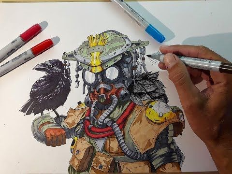 AMAZING apex legends drawing ||EPIC BLOODHOUND speed drawing