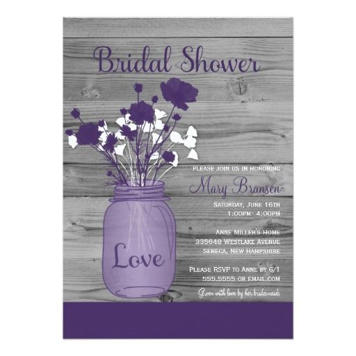 Purple bridal shower invitations designed with sweet country wedding charm in mind. The mason jar bridal shower invite features a wood grain background in charcoal and a mason jar jelly jr filled with white and purple florals. great for bridal showers with a purple theme, floral bridal shower events, country and outdoor weddings in spring, summer fall and even winter.