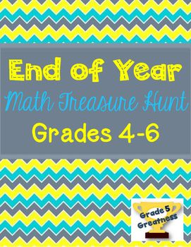Need a fun end of year math review activity? My students love a treasure hunt!!! This treasure hunt reviews fifth grade mathematics skills.