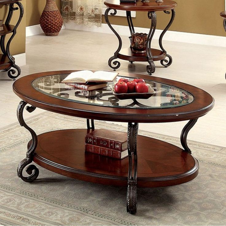 Benzara May Transitional Coffee Table In Brown Cherry Finish