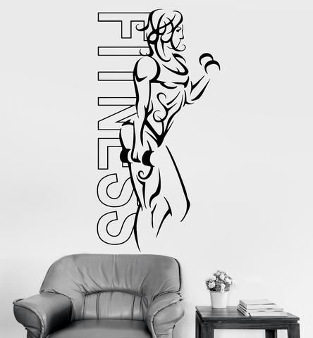 Wall Decal Sport Woman Fitness Crossfit Female Decor (z3227)