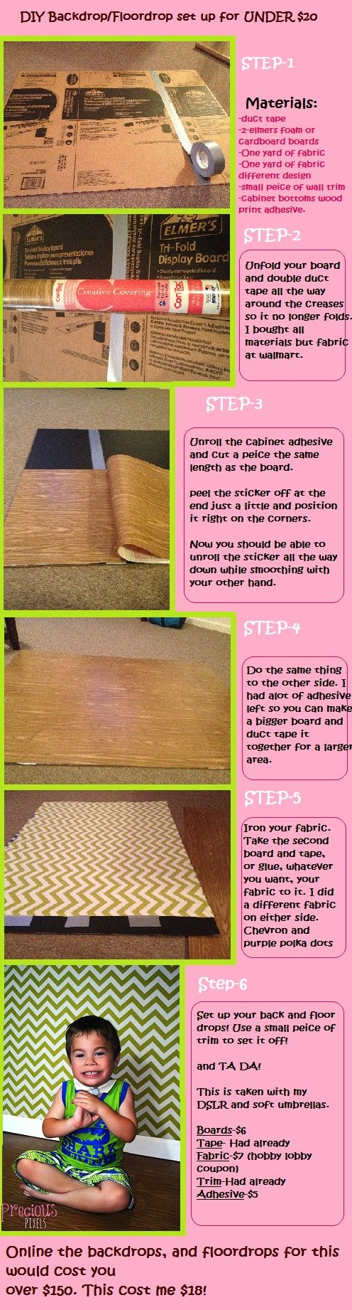 DIY Cute floor and backdrop for under $20