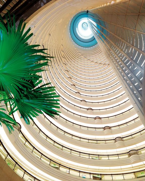 The atrium at Grand Hyatt Shanghai, one of the highest in the world.