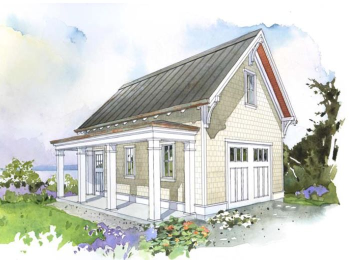 superb detached garage plans with porch #7: Detached cottage garage with sitting, pergola area