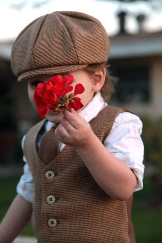 Easter Outfit Boys Vest Ring Bearer Wool Newsboy Set