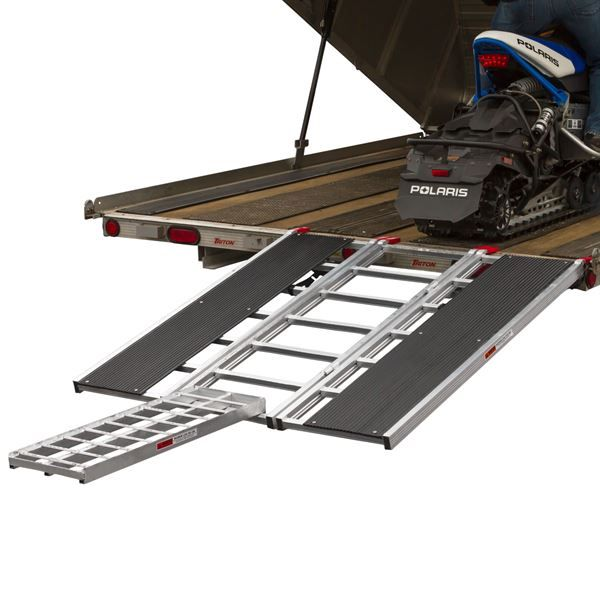 "The Black Ice Tri-Fold Snowmobile Trailer Ramps feature 12"" ski guides and a 1,500 lb weight capacity to make loading a snowmobile into your trailer easier than ever."